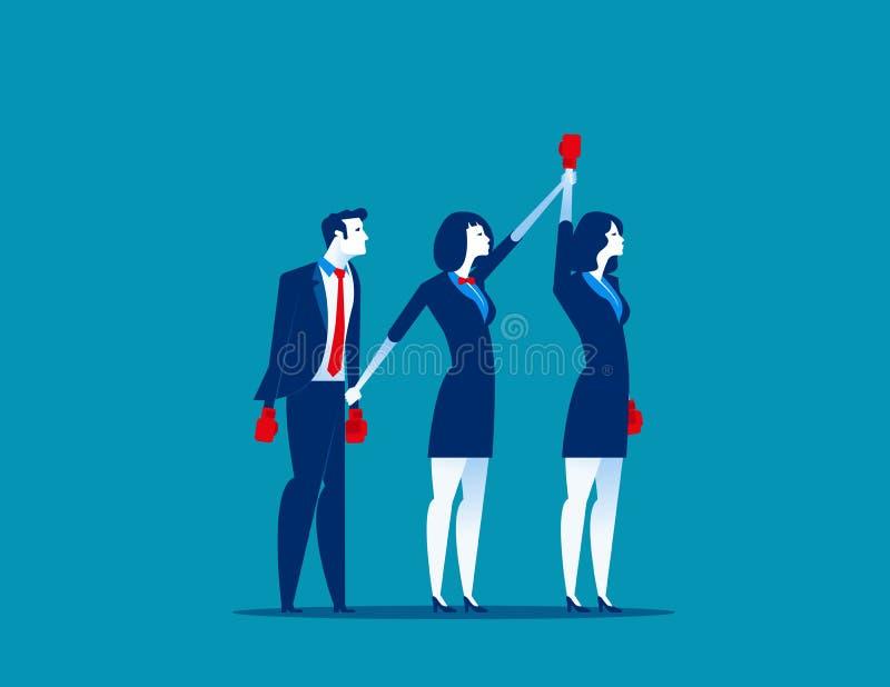 拳击冠军 举手的委员会宣称优胜者 概念企业传染媒介例证 库存例证