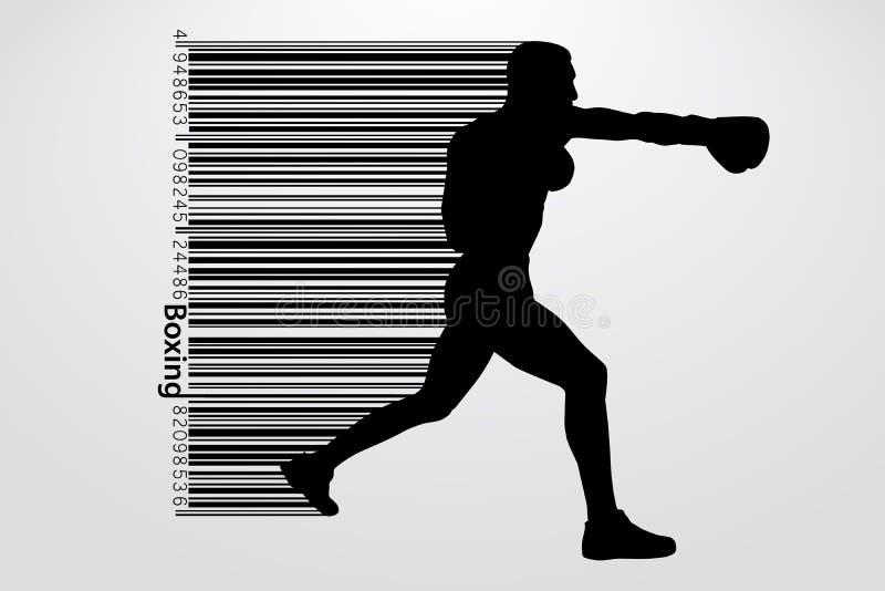 拳击剪影 抵制 也corel凹道例证向量 皇族释放例证