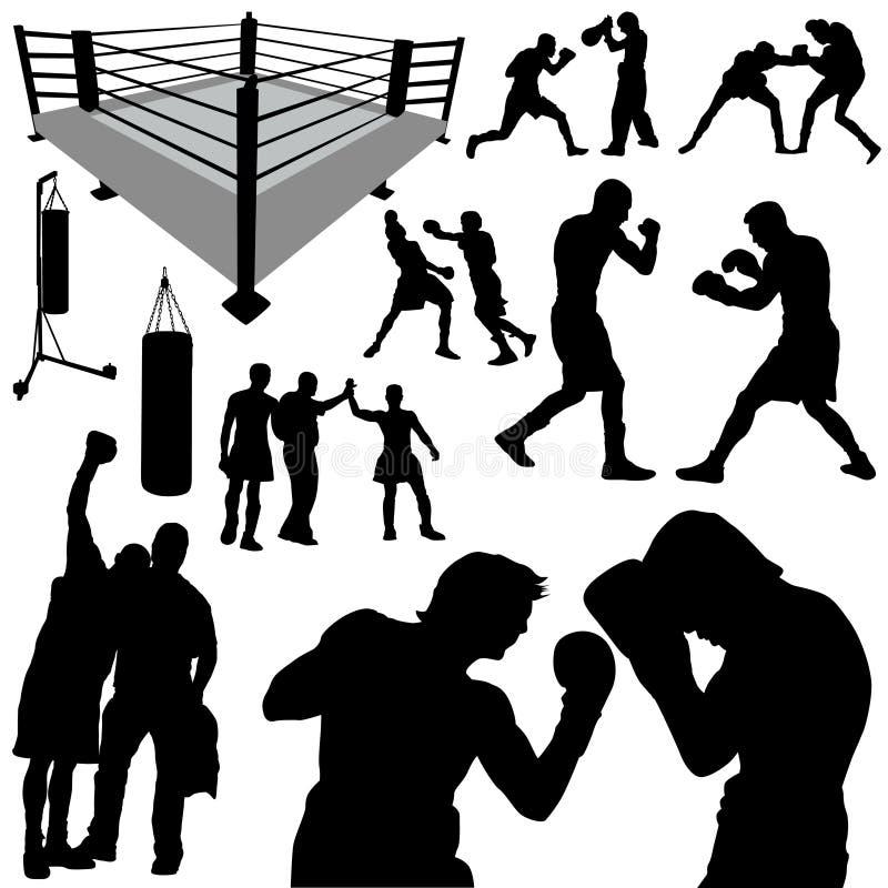 拳击剪影 向量例证