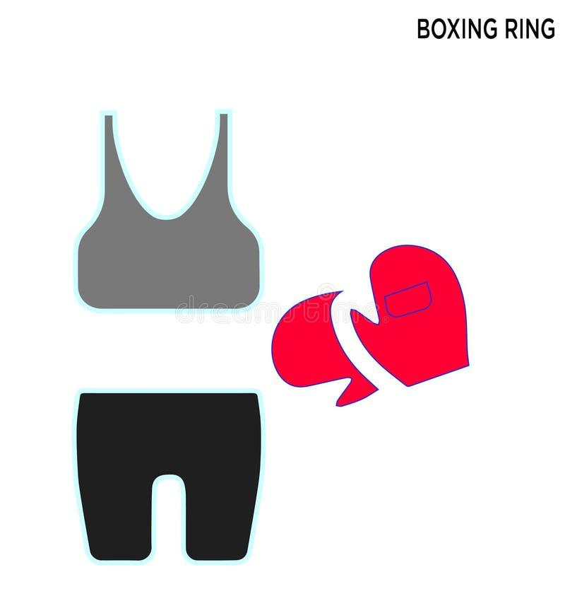 拳击台布料象编辑可能的标志设计 向量例证