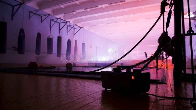拳击大厅的内部 与沙袋的空的现代战斗俱乐部实践的武术不同的形状 免版税图库摄影
