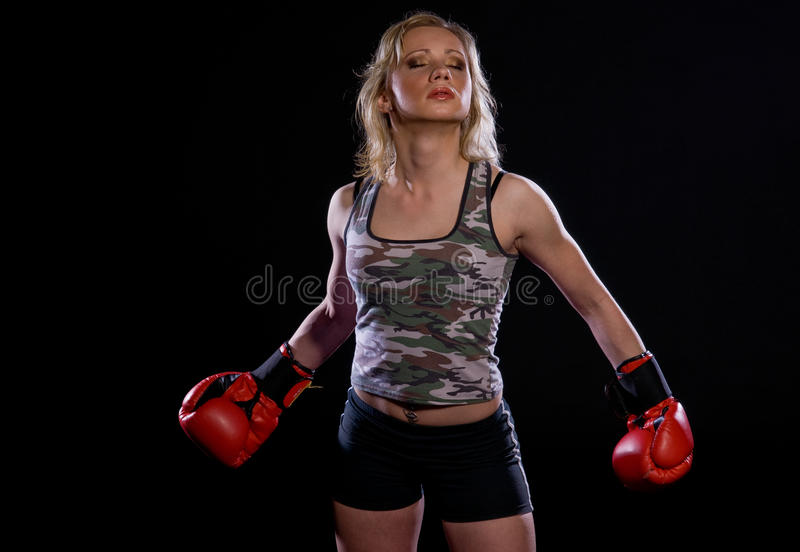 拳击女孩手套 库存图片