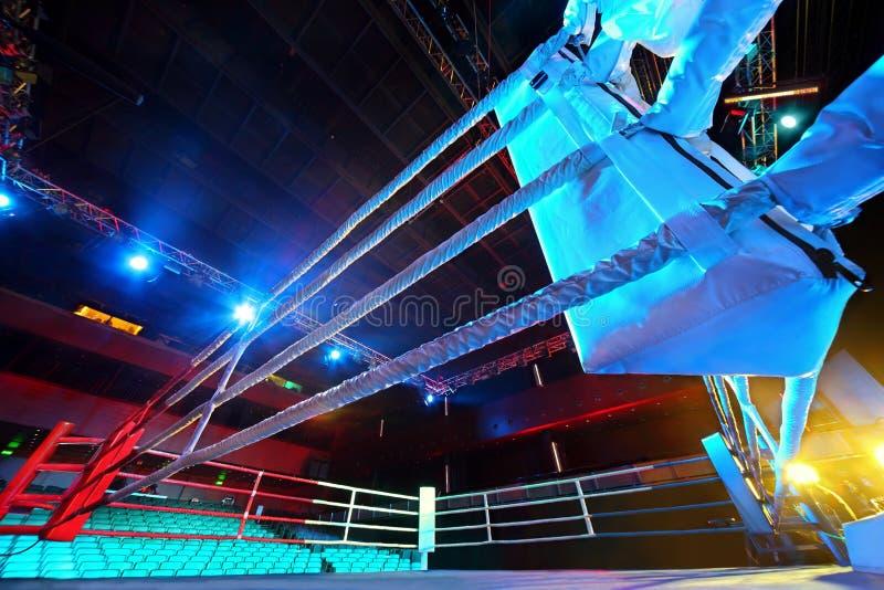 拳击手倒空战斗适应的环形  库存图片