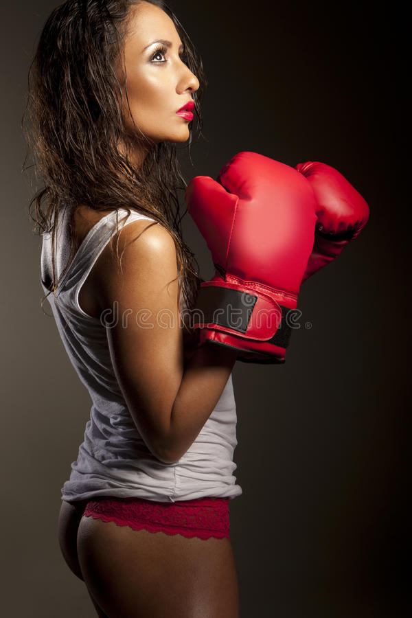 拳击手停留的性感的培训妇女 免版税库存照片