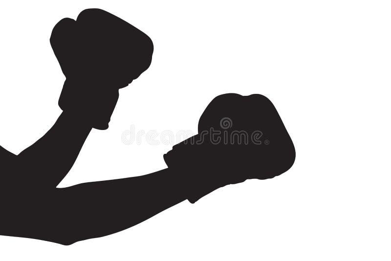 拳击手套剪影 向量例证
