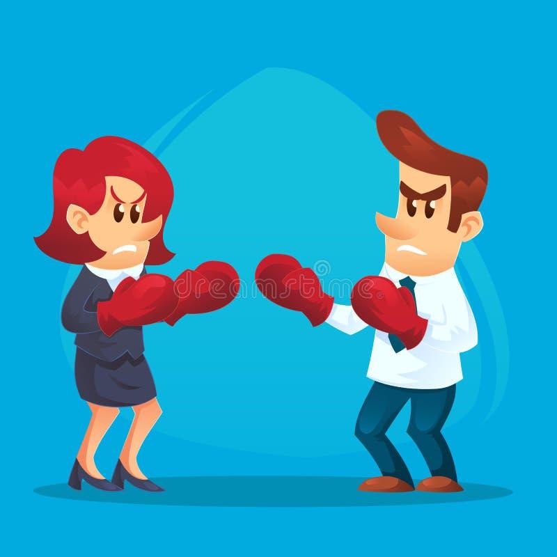 拳击手套的女实业家作战与商人的 在弓法企业生意人竞争暂挂二的概念锤子之后的亚洲人 传染媒介平的动画片例证 向量例证