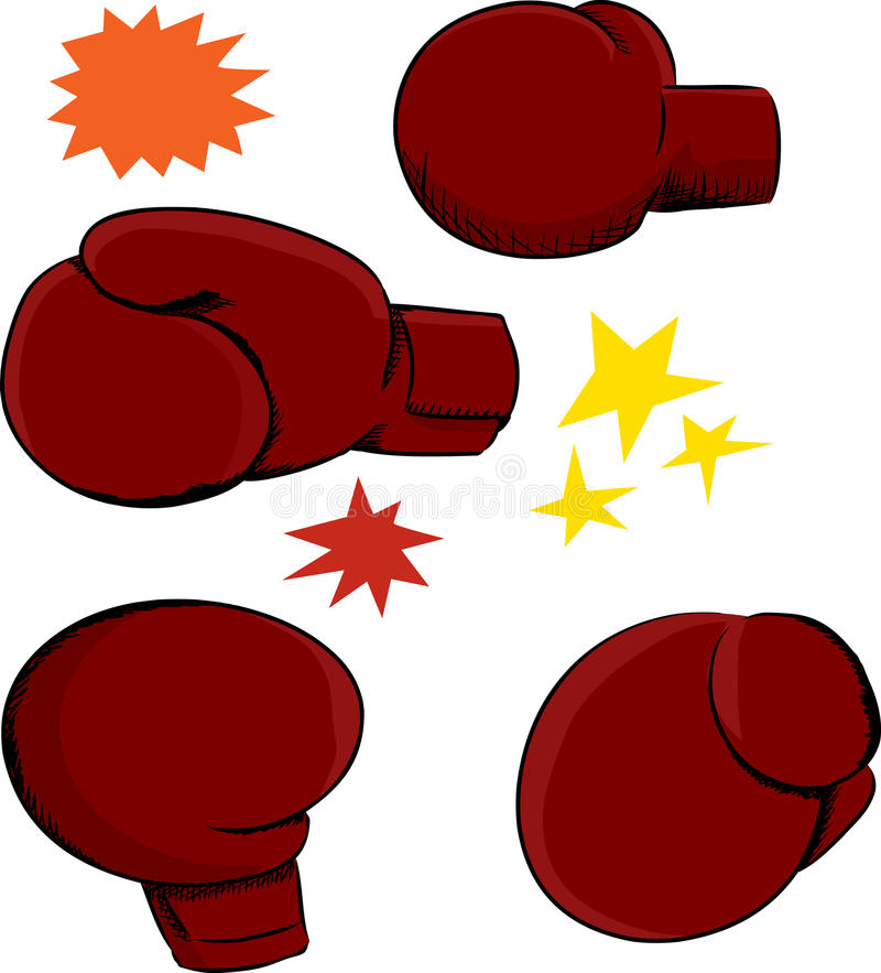 拳击手套角度 库存例证