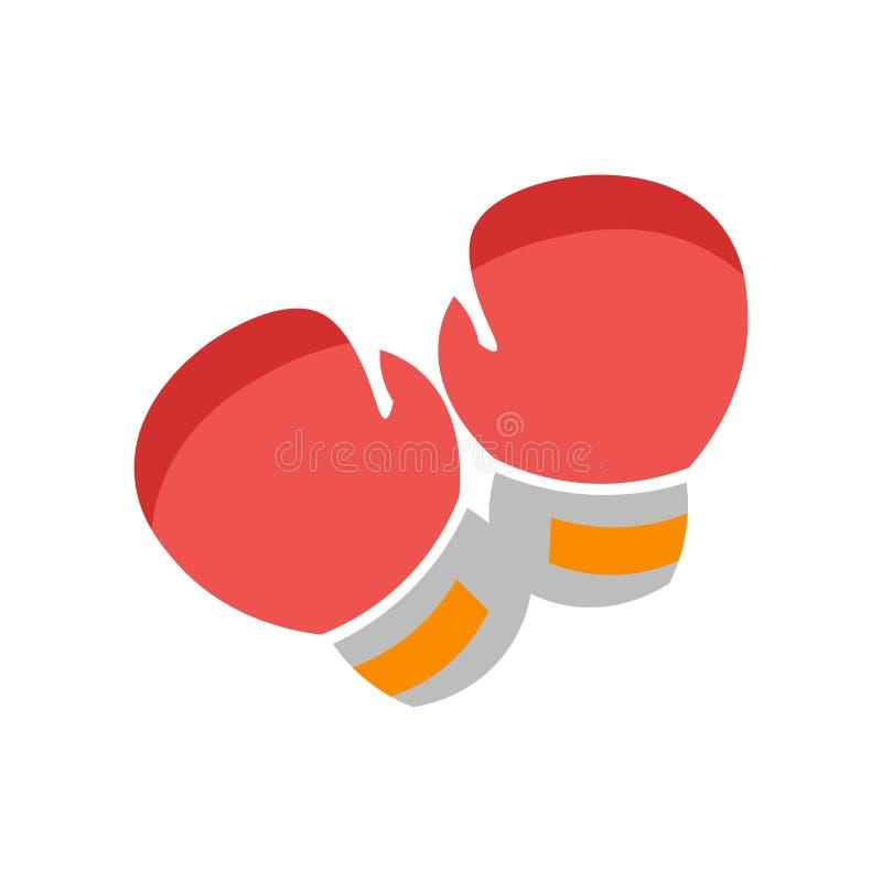 拳击手套象在白色backg和标志隔绝的传染媒介标志 库存例证