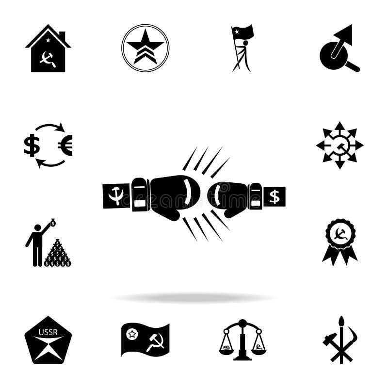 拳击手套资本主义和共产主义象 详细的套共产主义和社会主义象 优质图形设计 一  库存例证