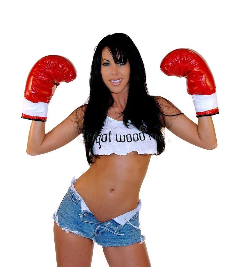 拳击手性感的妇女 库存图片