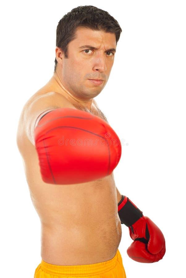 拳击手愤怒的人 免版税库存照片