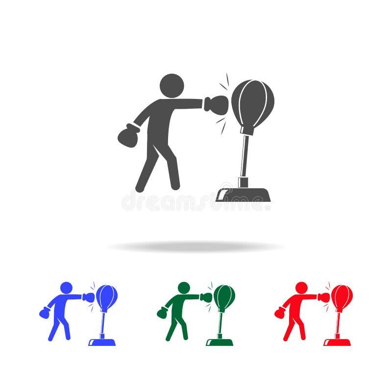拳击手敲打吊袋象 体育元素的元素在多色的象的 优质质量图形设计象 简单 向量例证