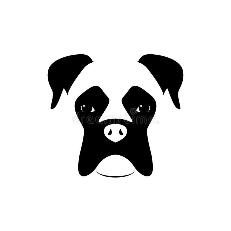 拳击手狗枪口 黑色白色 向量例证