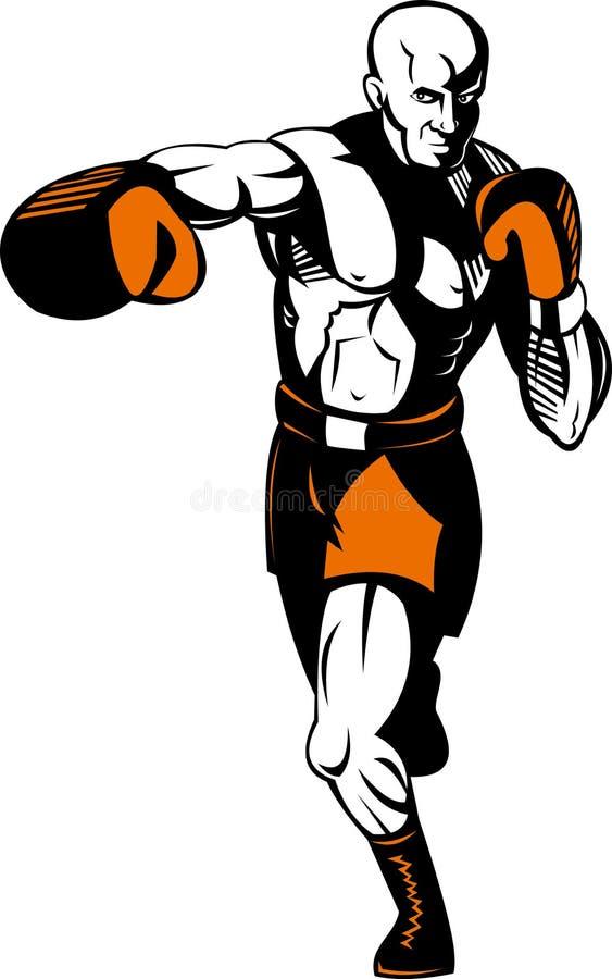 拳击手猛刺的猛击 库存例证