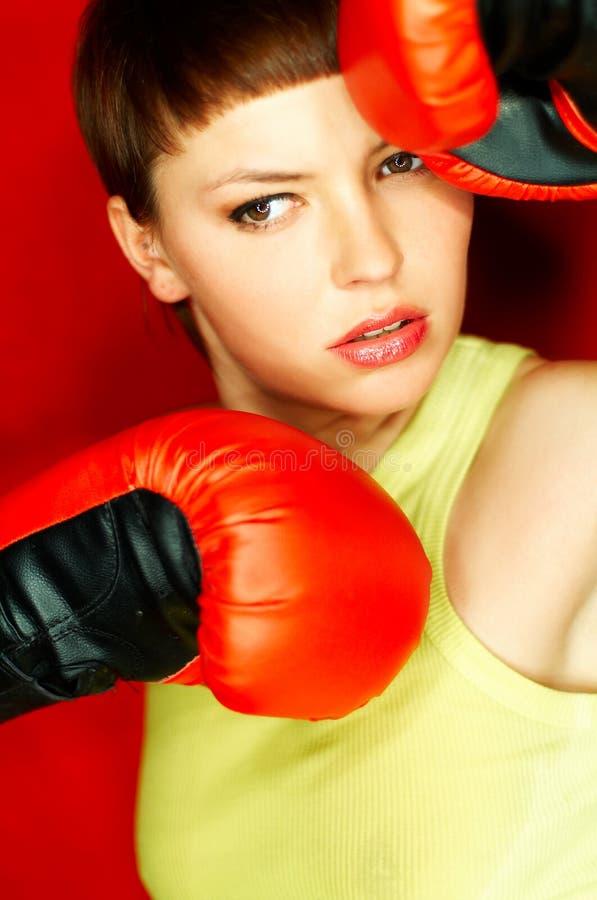拳击手红色 库存照片