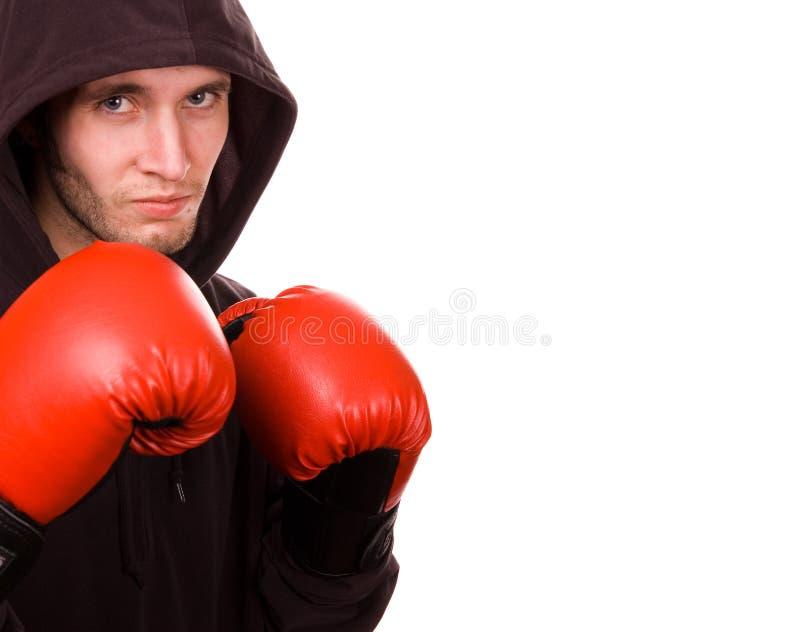 拳击手英俊的年轻人 免版税库存图片