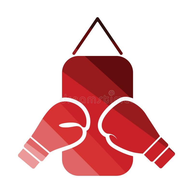 拳击梨和手套象 向量例证