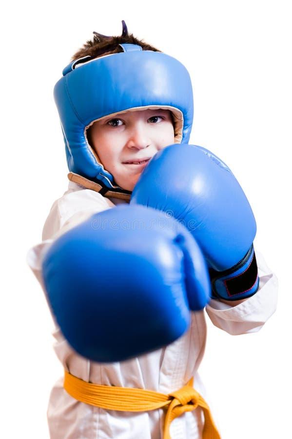 拳击男孩手套 免版税库存图片