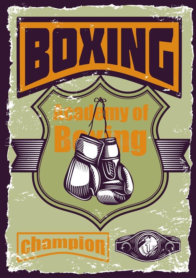 拳击的例证,葡萄酒海报 图库摄影