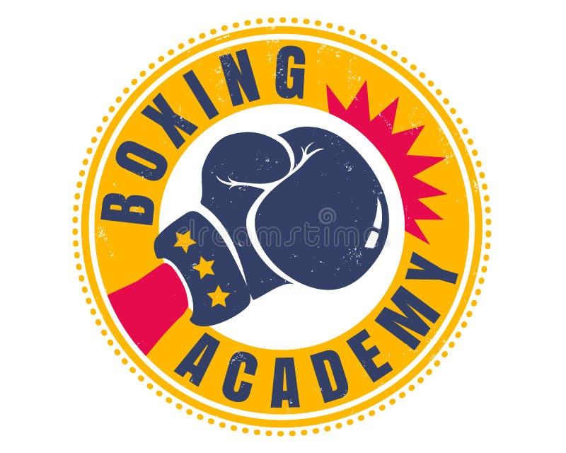拳击的减速火箭的体育商标 库存例证