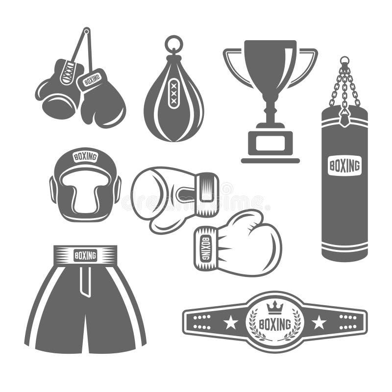 拳击设备传染媒介单色设计元素 皇族释放例证