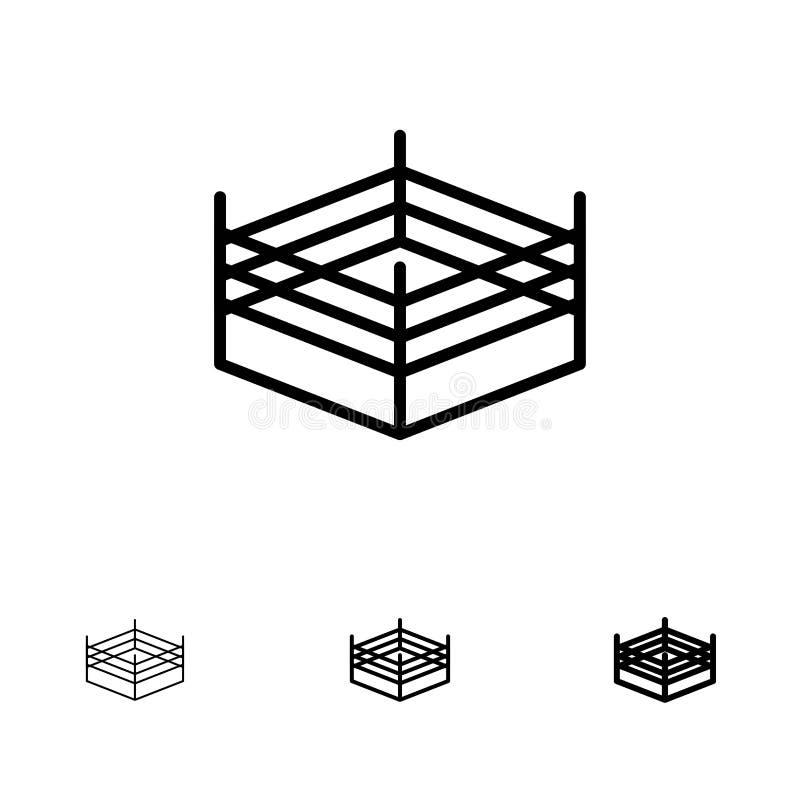 拳击,圆环,搏斗大胆和稀薄的黑线象集合 库存例证