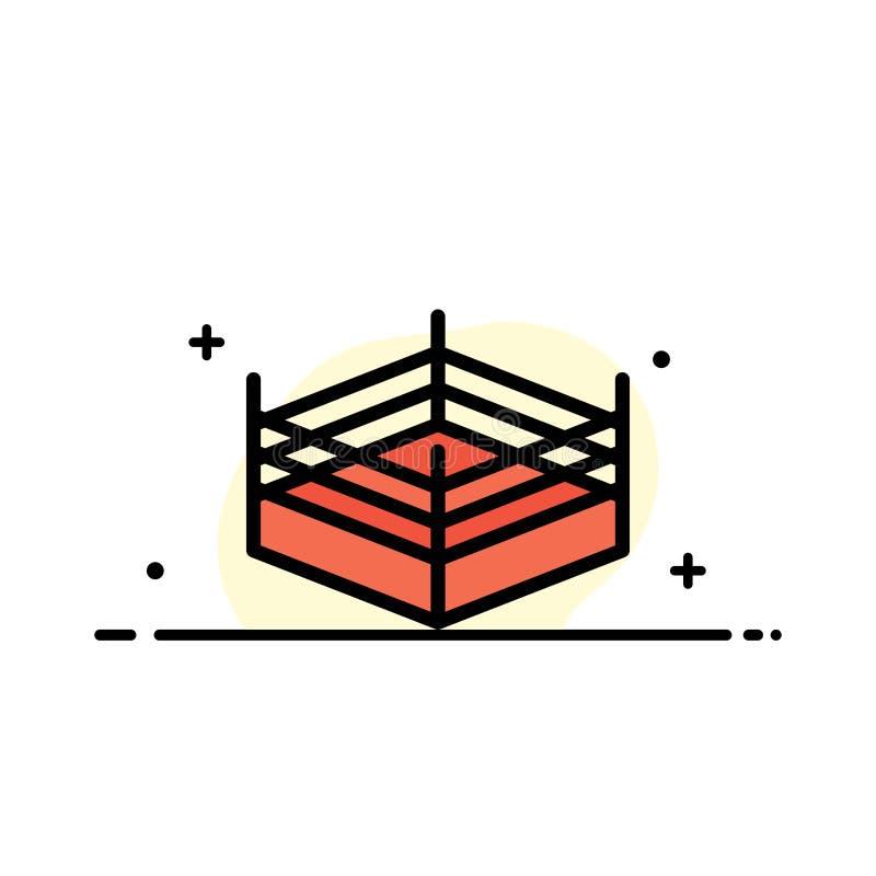 拳击,圆环,搏斗的企业平的线被填装的象传染媒介横幅模板 皇族释放例证