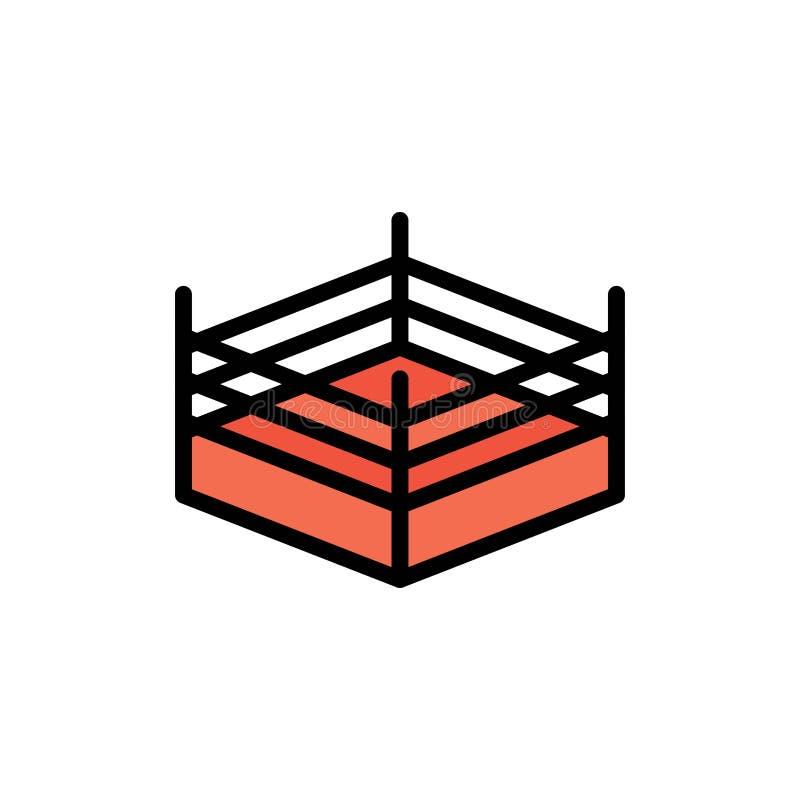 拳击,圆环,搏斗的平的颜色象 传染媒介象横幅模板 皇族释放例证