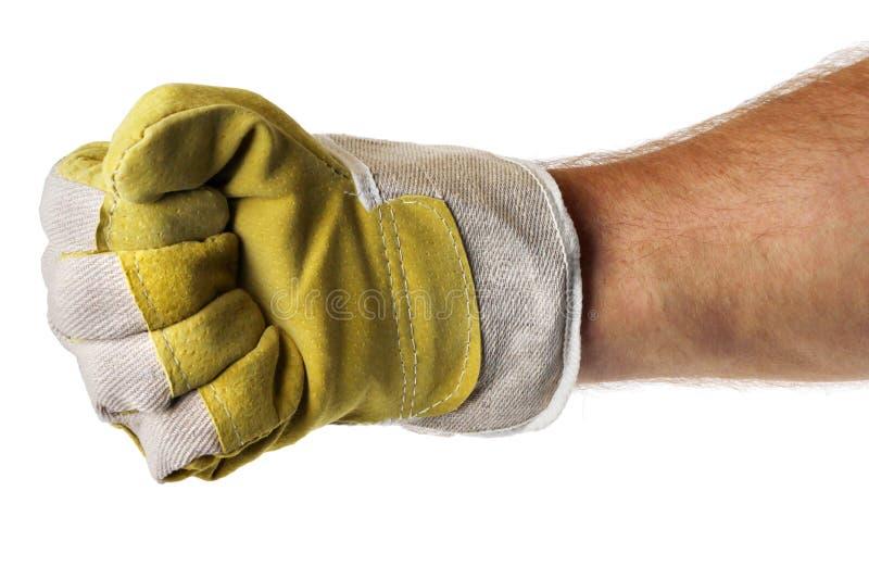 拳头手套现有量坚强的工作者 免版税库存图片