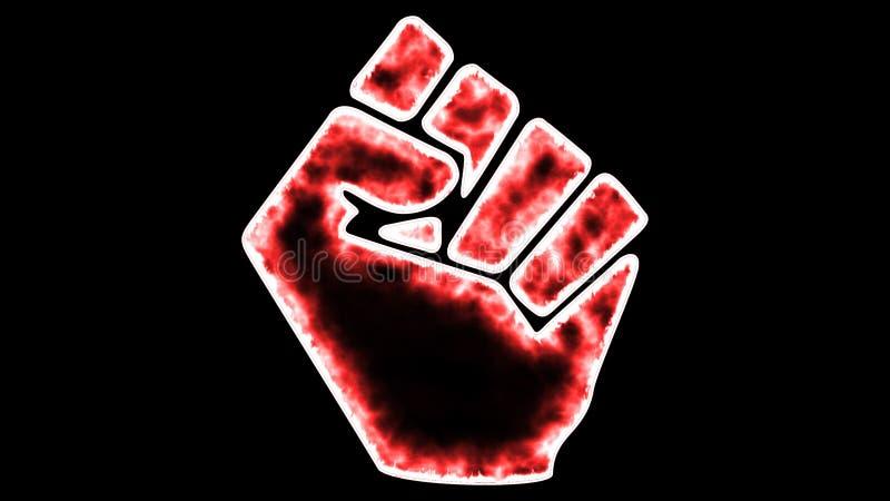 拳头象红颜色高分辨率黑背景 向量例证