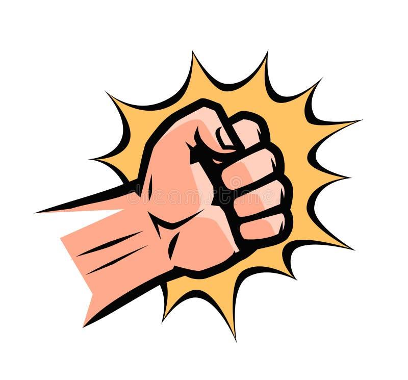 拳打,流行艺术减速火箭的可笑的样式 紧握拳头,动画片传染媒介例证 皇族释放例证