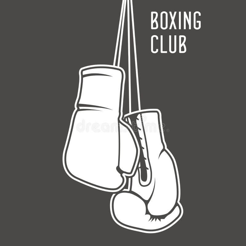 拳击与拳击手套的俱乐部海报 库存例证