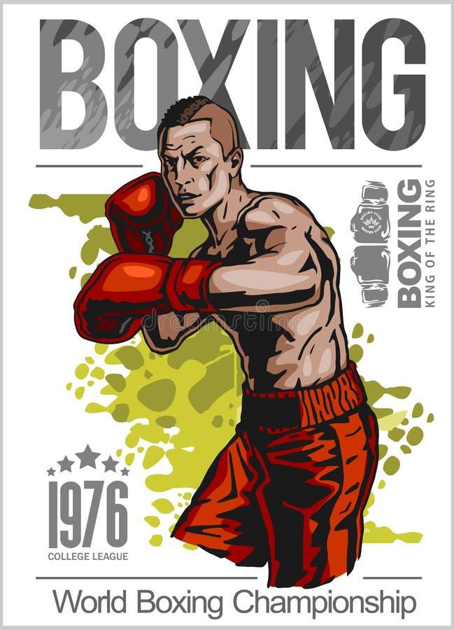 拳击与拳击手的冠军海报白色背景的 皇族释放例证