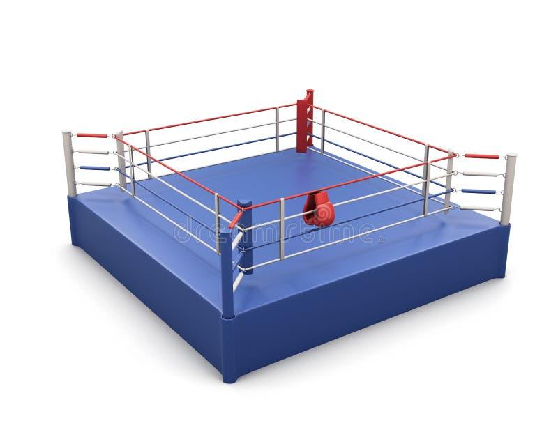 拳击台和手套在绳索 3d 库存例证