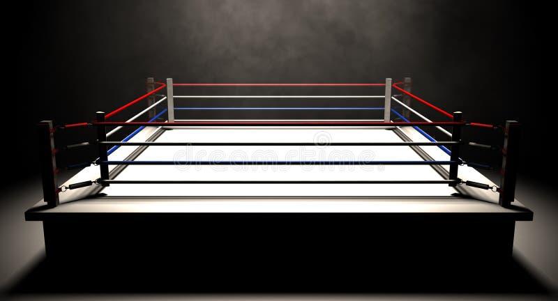 拳击台Spotlit黑暗 库存图片