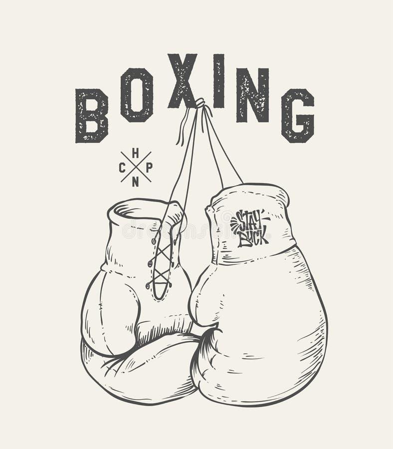 拳击手套传染媒介例证 印刷品设计T恤杉 皇族释放例证