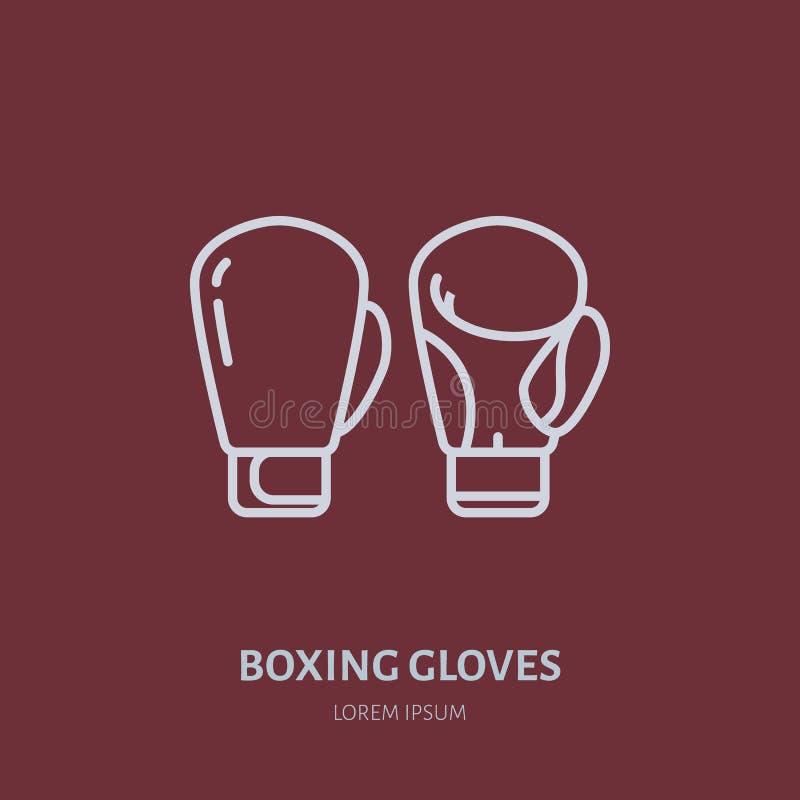 拳击手套传染媒介线象 箱子俱乐部商标,设备标志 体育竞赛例证 皇族释放例证