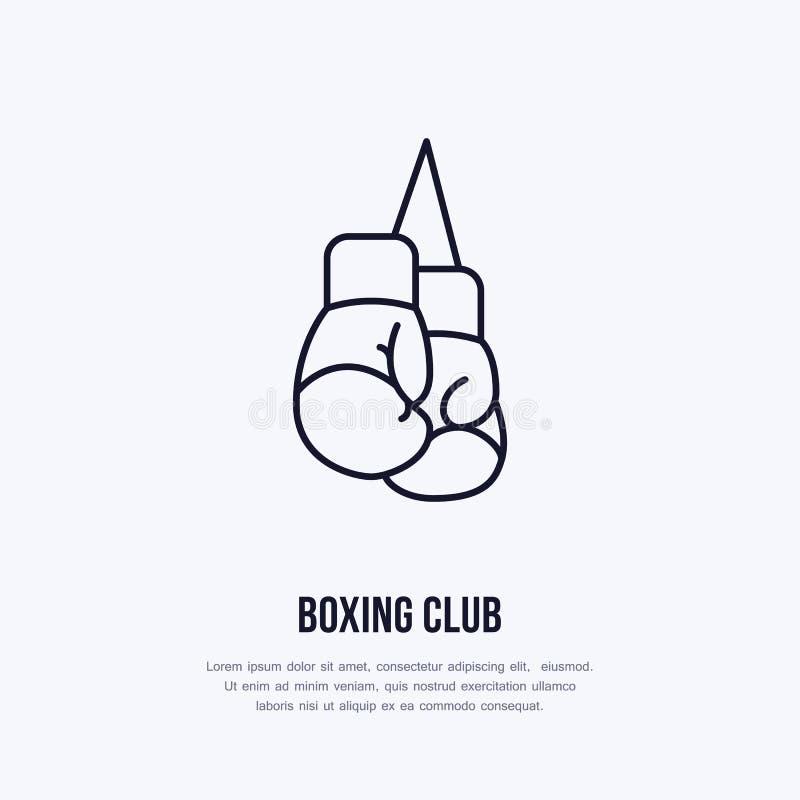 拳击手套传染媒介线象 箱子俱乐部商标,设备标志 体育竞赛例证 库存例证