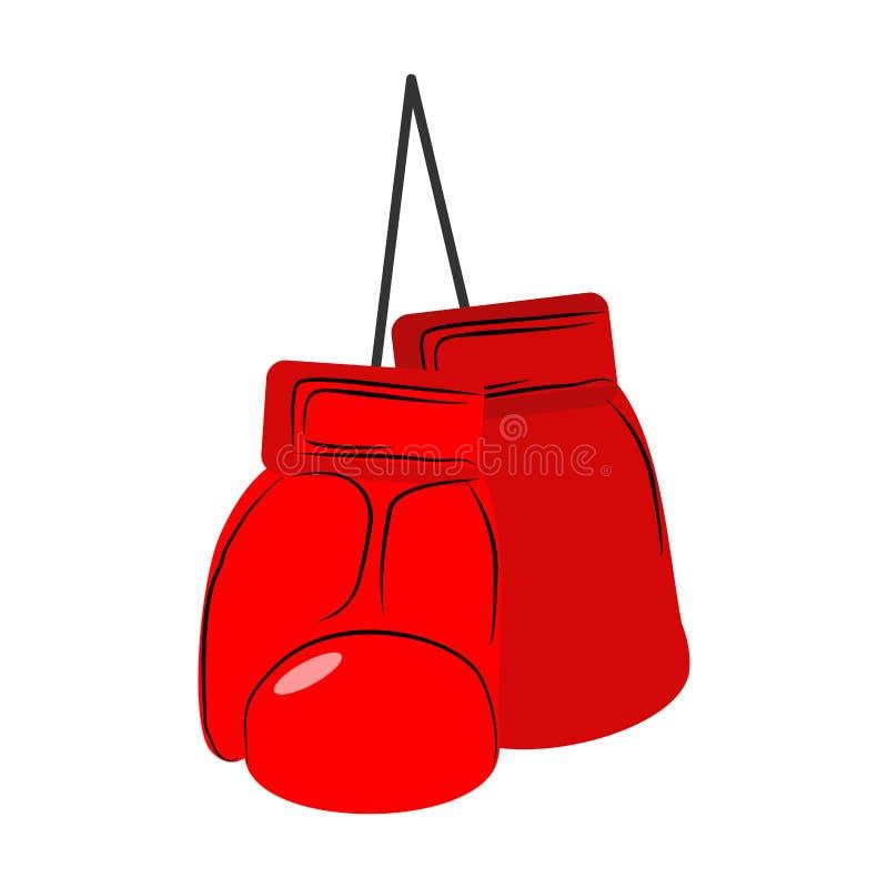 拳击手套查出红色 炫耀在白色backgrou的辅助部件 皇族释放例证