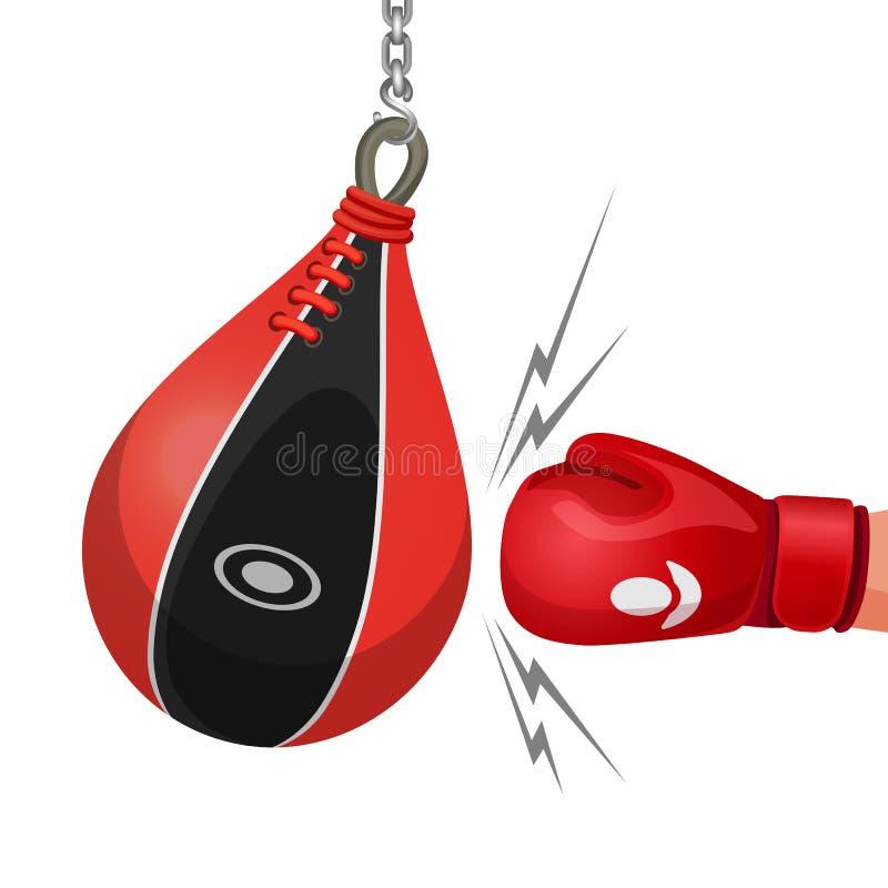 拳击手套击中沙袋被隔绝的传染媒介例证 向量例证