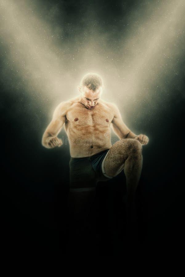 拳击手战斗机全长画象在反撞力行动的 免版税图库摄影