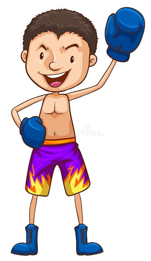 拳击手的一张色的图画 库存例证