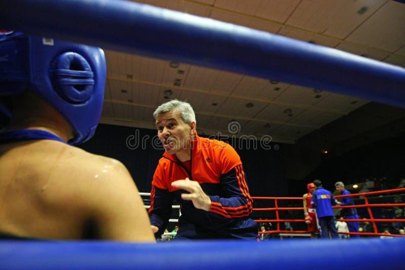 拳击教练 免版税图库摄影
