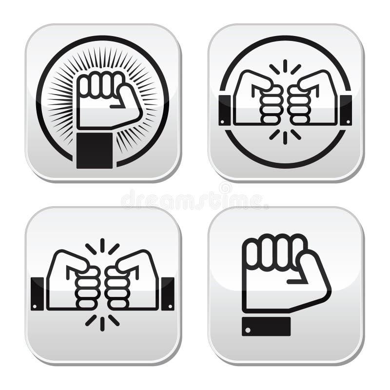 拳头,拳头被设置的爆沸按钮 库存例证