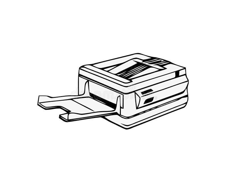 拷贝机器或复印机 在白色背景隔绝的办公室多功能设备 r 库存例证