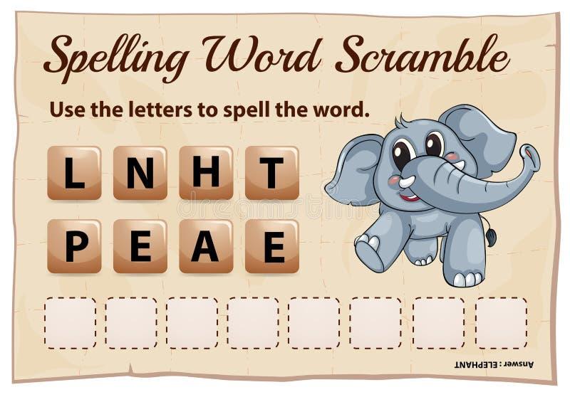 拼写词词大象的争夺比赛 向量例证
