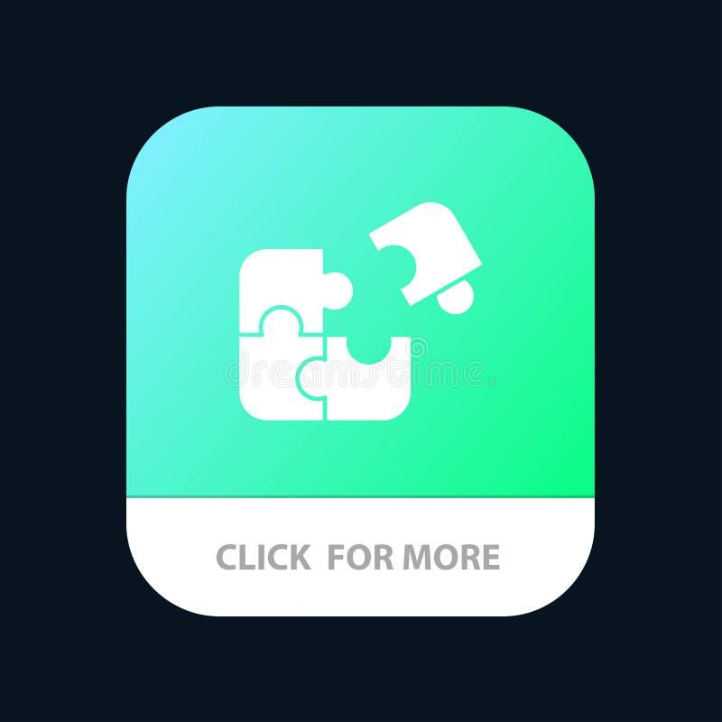 拼图、业务、拼图、匹配、拼图、成功移动应用按钮 Android和IOS字形版本 库存例证