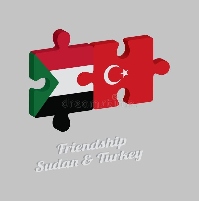 拼图苏丹旗子和土耳其旗子3D与文本:友谊苏丹&土耳其 概念的友好在两个国家之间 皇族释放例证