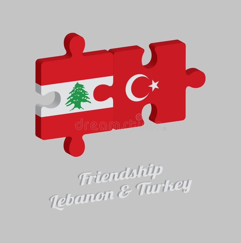 拼图黎巴嫩旗子和土耳其旗子3D与文本:友谊黎巴嫩&土耳其 概念的友好在两个之间 库存例证