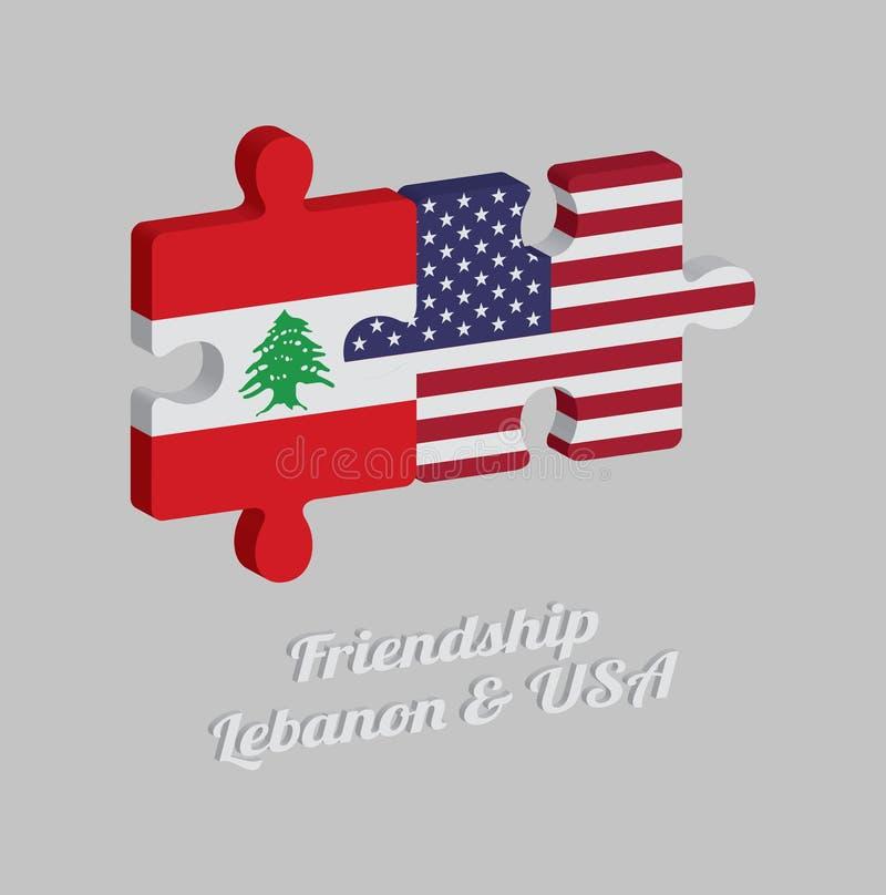 拼图黎巴嫩旗子和美国旗子3D与文本:友谊黎巴嫩&美国 概念的友好在两个国家之间 皇族释放例证